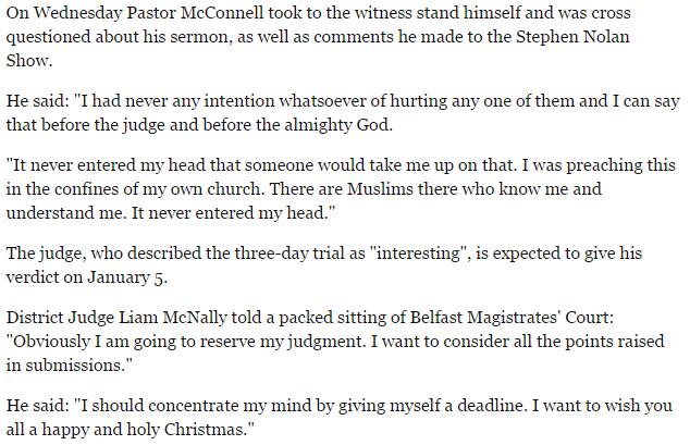 Pastor McConnell Belfast Telegraph