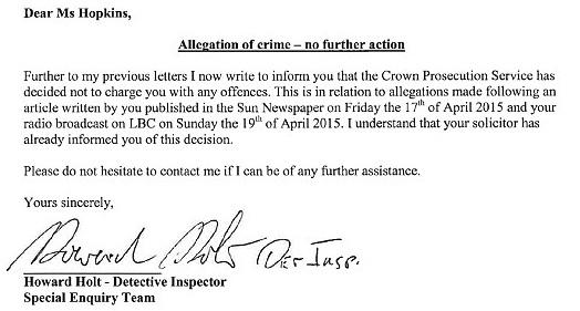 Katie Hopkins Metropolitan Police Letter