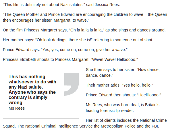 Sunday Express Queen Nazi Salute