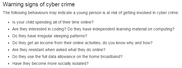 Warning Signs of Cyber Crime
