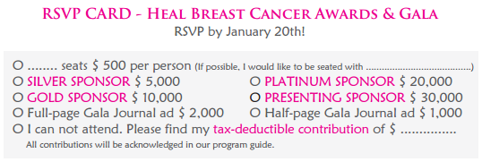 RSVP Card - Heal Breast Cancer Awards Gala