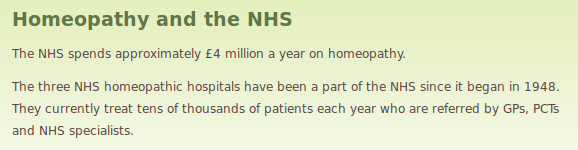 Homeopathy on the NHS