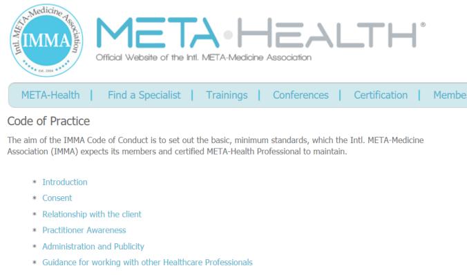 Meta-Medicine Code of Practice