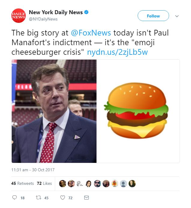 New York Daily News: Manafort Indictment: A Big Nothing Burger Emoji